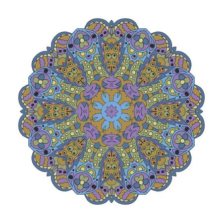 Mandala. Zentangl round ornament. Relax, meditation. Blue and purple Colors