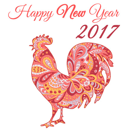12: Cock. Vector silhouette. Symbol 2017. Red Rooster. Oriental pattern. Ornament in red tones. Chinese New Year 2017 Illustration