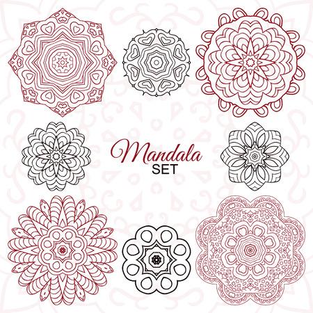Mandala set. Round decorative ornaments for creativity. Doodle drawing, ethnic motifs. 8 zentagl images