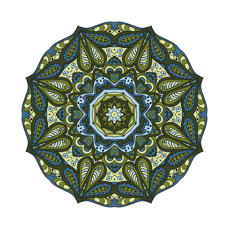olive green: Mandala flower. Doodle drawing. Round ornament. Olive, green, and blue colors Illustration