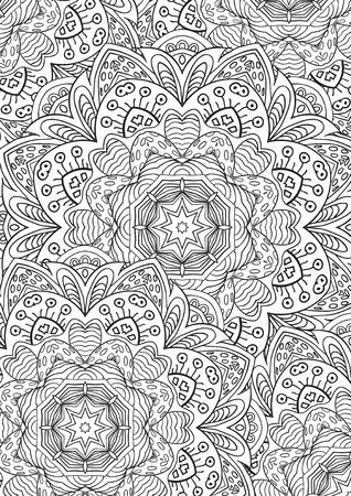Libro Para Colorear De Hojas. Patrón De Mandala Zentangl ...