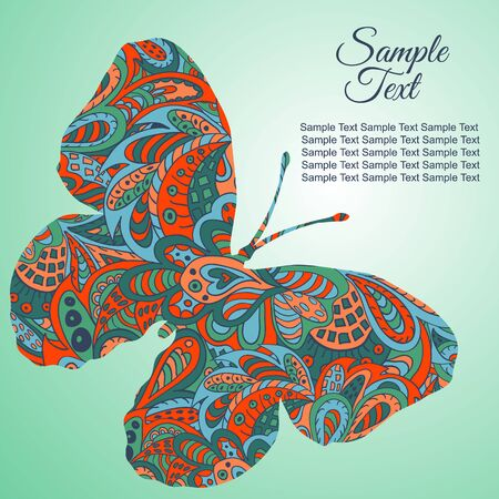 tenderness: Doodle Zentangl drawing. Holiday card butterfly. Tenderness of spring. Green, orange Illustration