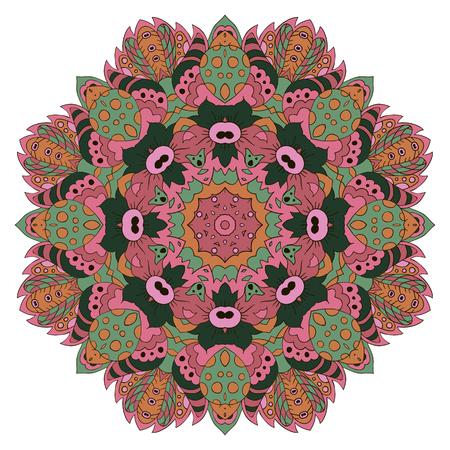 Mandala. Zentangl round ornament. Relax, meditation. Pink, Illustration