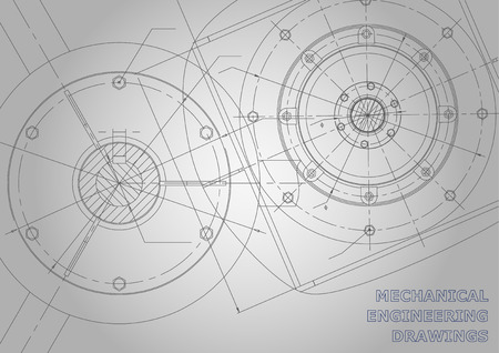 Gray Mechanical engineering drawings. Background for inscription. Vector Corporate Identity Иллюстрация