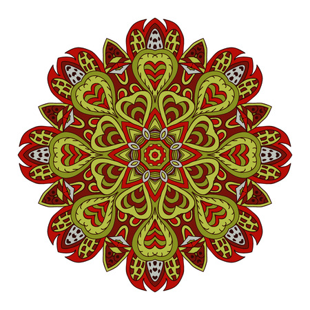 Mandala doodle drawing. Colorful round ornament. Ethnic motives. Zentangl Hearts. Red and green tones Illustration