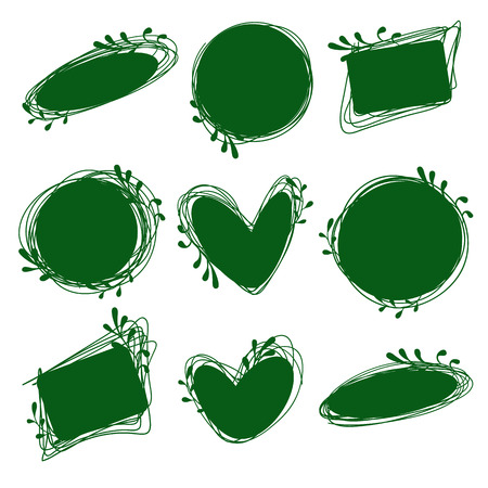 Tags set for inscriptions. Labels for organic products. Tags natural, dietary, useful products. Bio logos. Green labels Illustration