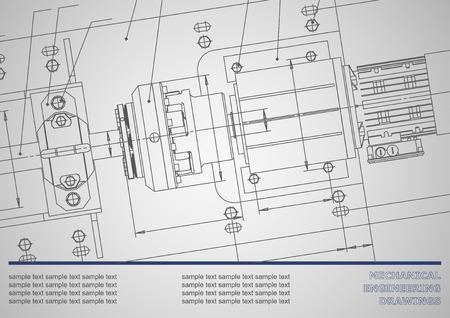dibujos de ingeniería mecánica en un fondo gris. Vector. Antecedentes de placas de identificación. Identidad corporativa. Gris