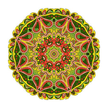 yellow rose: Mandala Eastern pattern. Zentangl round ornament. Yellow, rose and green colors Illustration