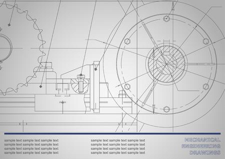 Disegno vettoriale Disegni meccanici su uno sfondo grigio scuro. Illustrazione di ingegneria Corporate Identity Vettoriali