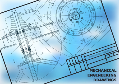 Mechanical engineering drawings. Vector background. Frame