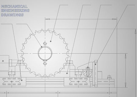 Disegni di ingegneria meccanica. Vettore. Disegno su uno sfondo. Corporate Identity. Grigio