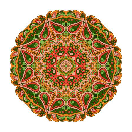 orange rose: Mandala Eastern pattern. Zentangl round ornament. Orange, rose and green colors