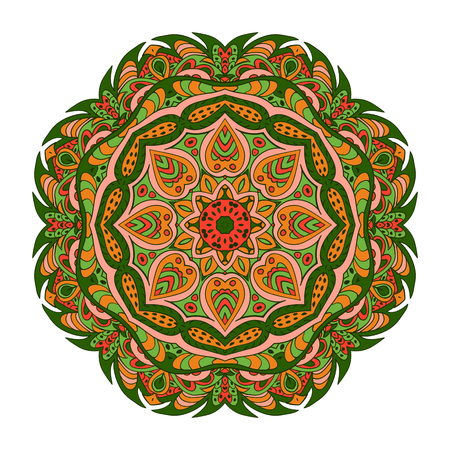 Mandala Eastern pattern. Zentangl round ornament. Green and orange colors Illustration