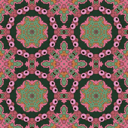 green tone: Mandala. Zentangl seamless ornament. Relax. Oriental pattern. Pink, green tone