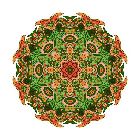 orange rose: Mandala Eastern pattern. Zentangl round ornament. Orange, rose and green tones Illustration