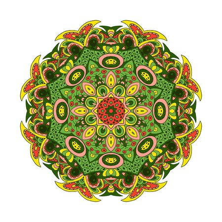 Mandala Eastern pattern. Zentangl round ornament. Yellow, rose, green tones Illustration
