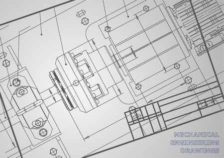 機械工学の図面は、灰色の背景に。ベクトル。銘刻文字ラベルの背景。フレーム。コーポレート ・ アイデンティティ