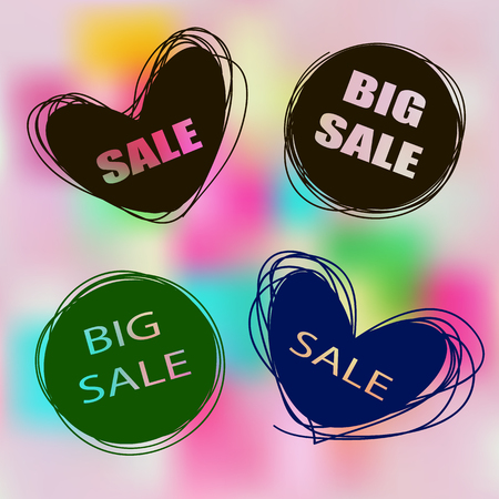 promotional products: Doodle sale tags. Sale banners set. Labels for promotional products. Icons of sales