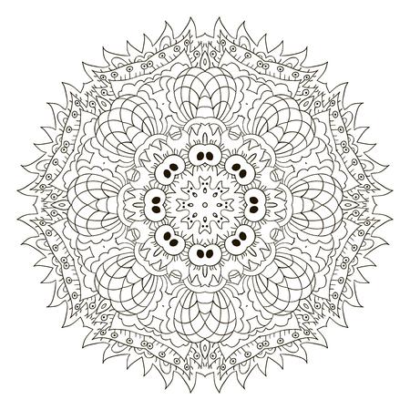 Dibujo Del Doodle De La Mandala. Ornamento Redondo Floral. Motivos ...