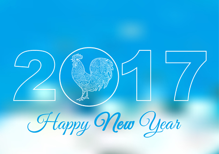 Happy New Year. Cock. Blue and white backgrounds. Symbol 2017. Rooster 2017. Oriental pattern. Holiday card, banner