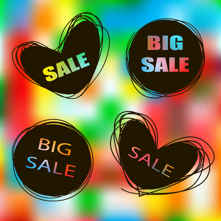 promotional products: Doodle sale tags. Sale banners set. Labels for promotional products. Icons of sales Love Shopping
