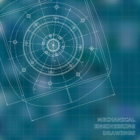 Mechanical engineering drawings. Engineering illustration. Vector background. Blue. Grid