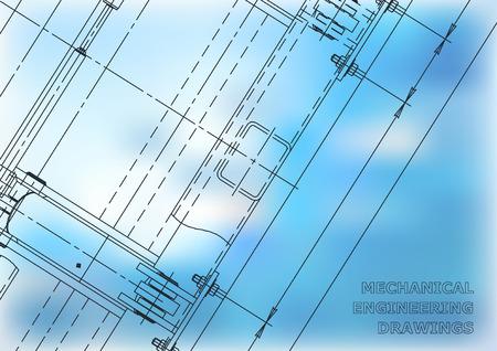 Mechanical Engineering Blue drawing. Blueprints. Mechanics. Cover. Engineering design, construction Illustration