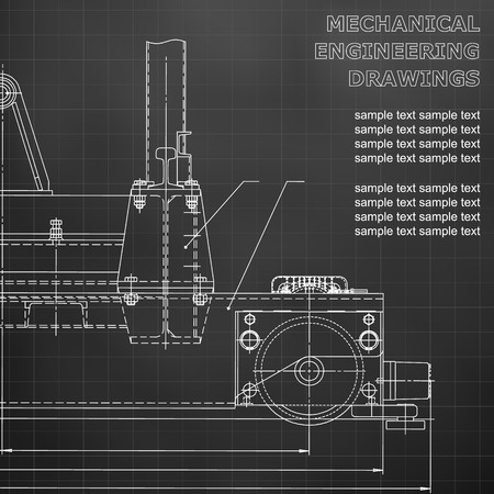 Mechanical engineering drawings on a black background. Vector. For inscriptions. Black. Grid