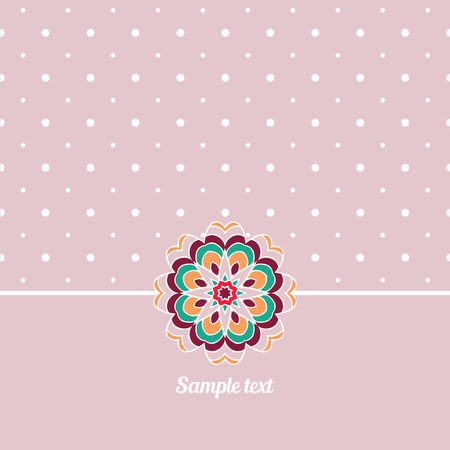 Cover, Oriental-style card. Cute picture dots. Delicate pink tone. Mandala - Decoration