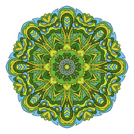 green tone: Mandala. Oriental ornament relaxing. Doodle Round figure. Green tone