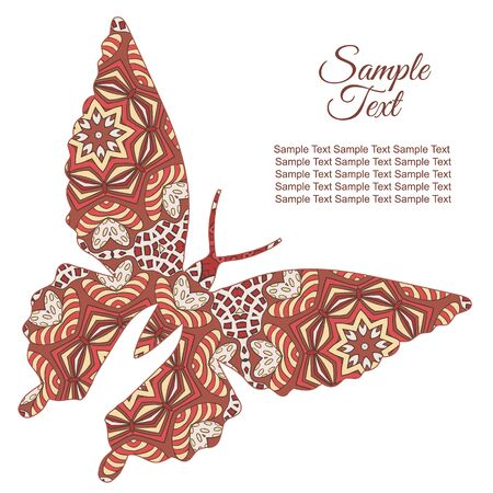 women's fashion: Doodle butterfly. Zentangl drawing. Holiday card. Rosy and brown