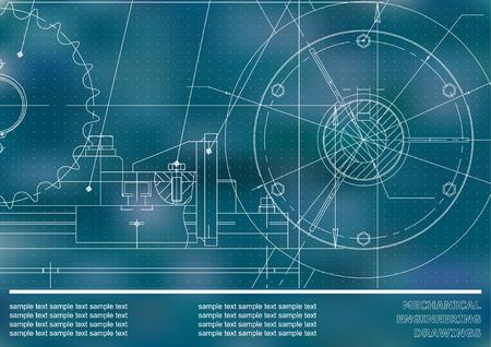 Disegno vettoriale Disegni meccanici su sfondo blu. Illustrazione di ingegneria Corporate Identity. Punti