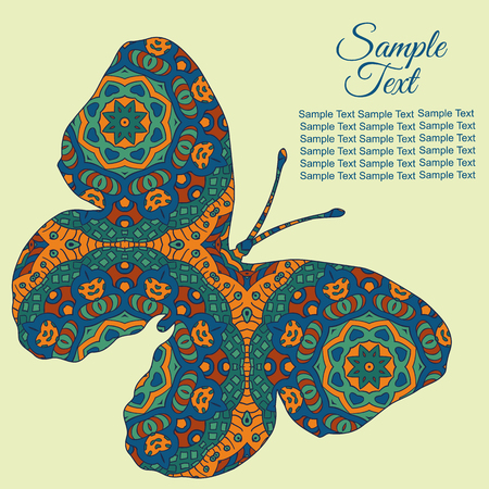 tenderness: Doodle Zentangl drawing. Holiday card butterfly. Tenderness of spring. Blue and brown