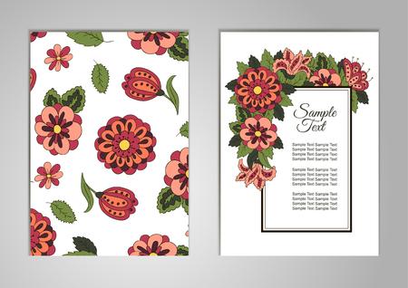 Set Karten zu seinem Geburtstag, ein Urlaub, eine Hochzeitseinladung. Blumenmotive. Cover, Zeitschrift, Blumenelemente. Design Hintergrund, Rahmen, Vektor-Layout