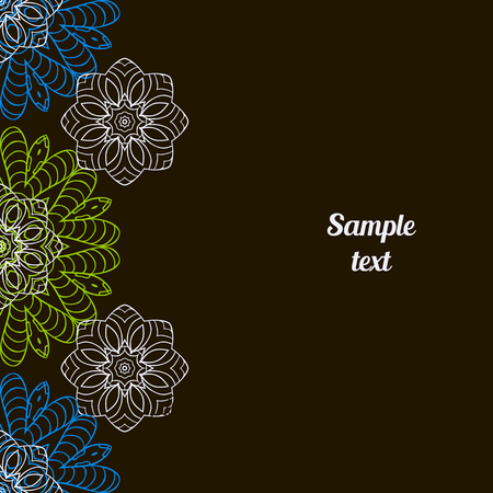 Doodle image. Mandala, circular patterns. White, blue and green on black. Hand drawing for text