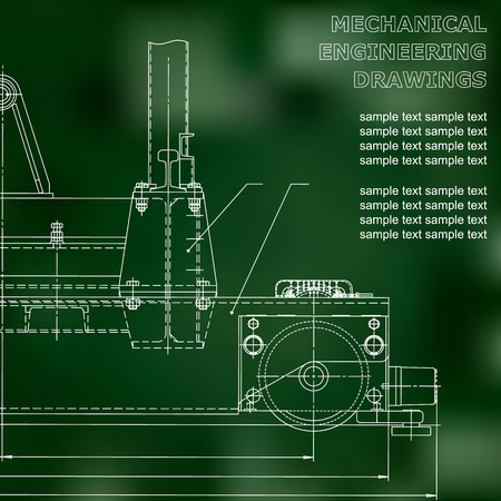 Mechanical engineering drawings on a black background. Vector. For inscriptions. Green Illustration