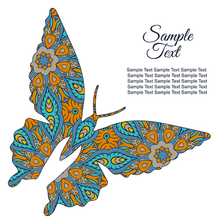 tenderness: Doodle butterfly. Zentangl drawing. Holiday card. Tenderness of spring. Blue and orange Illustration