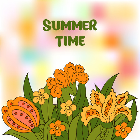 Summer postcard, cover. Summer. Green, orange, yellow. Colourful summer