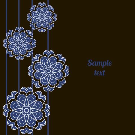 friso: Cubierta, tarjeta de estilo oriental. estampado de flores de la mandala en colores negro, azul