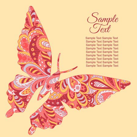 tenderness: Doodle butterfly. Zentangl drawing. Holiday card. Tenderness of spring. Rosy and yellow