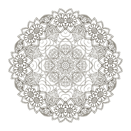 Oriental pattern. Traditional round ornament. Mandala Coloring. Turkey, Egypt, Islam. Doodle drawing Illustration