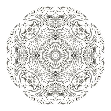 Mandala. Colorear Modelo Oriental. Ornamento Redondo Tradicional ...