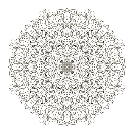 Oriental pattern. Traditional round ornament. Mandala. Turkey, Egypt, Islam. Relaxing picture. Doodle coloring