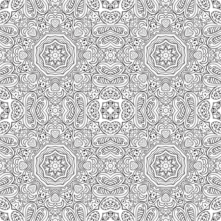 an example: Seamless doodle pattern. Black and white background. Ethnic motives. Zentagl