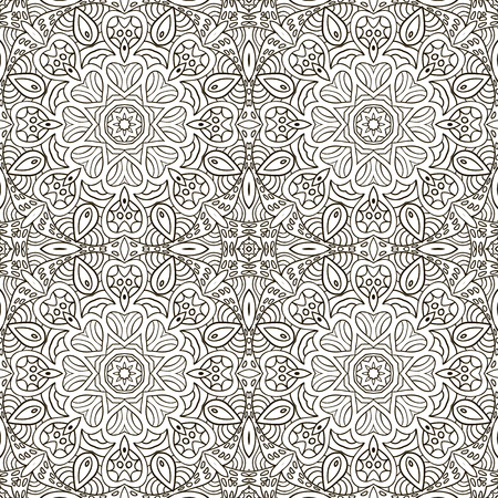 an example: Seamless pattern doodle ornament. Ethnic motives. Zentagl. Coloring