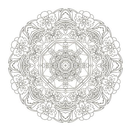 Mandala. Modelo Oriental. Ornamento Coloración Tradicional Ronda ...