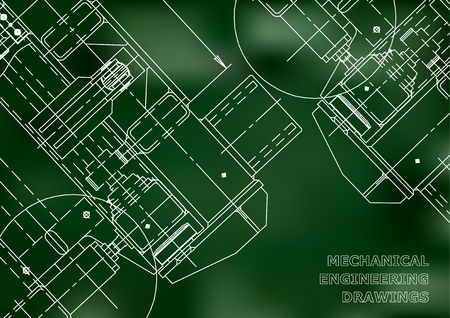 reconstruction: Mechanical Engineering drawing. Blueprints. Mechanics. Cover, background for your design. Green