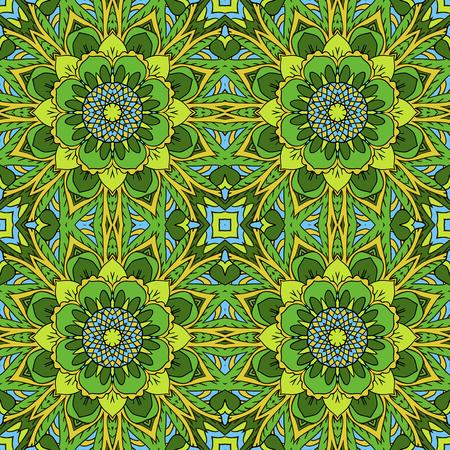 oriental rug: Mandala. Oriental ornament relaxing. Doodle Seamless pattern. Green tone