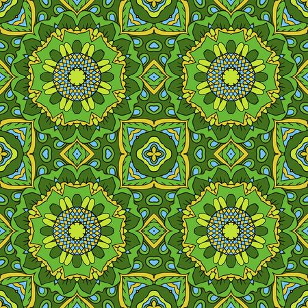 oriental rug: Mandala. Oriental ornament relaxing. Doodle Seamless pattern. Green colors