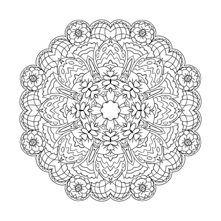 Traditional round ornament. Oriental pattern. Mandala. Doodle drawing coloring Illustration